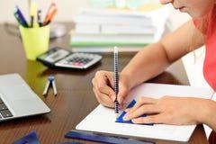 做与几何的家庭作业 库存照片