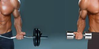 做与哑铃和杠铃的一个英俊的力量运动人爱好健美者拼贴画锻炼 库存照片