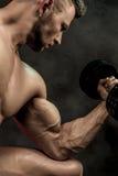 做与哑铃的一个英俊的力量运动人爱好健美者的特写镜头锻炼 在黑暗的健身强健的身体 库存照片