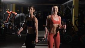 做与哑铃的两个逗人喜爱的女孩锻炼 股票录像