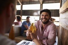 做与啤酒瓶的酒吧的两个男性朋友多士 库存图片