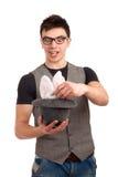 做魔术的年轻人画象 免版税库存照片