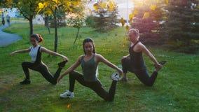 做与教练员的两年轻女人瑜伽asanas在太阳的一名妇女的光芒的公园有长的蓝色dreadlocks 影视素材
