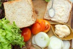 做与新鲜蔬菜的金枪鱼三明治 免版税库存照片