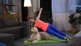 做与狗的运动的妇女sidestand锻炼 股票视频