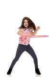做与行动迷离的孩子hula箍 免版税库存图片