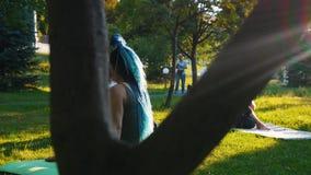 做与辅导员的两年轻女人不同的瑜伽锻炼在公园-一名妇女有长的蓝色dreadlocks 股票录像
