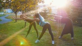 做与辅导员的两年轻女人瑜伽锻炼在公园在阳光下-一名妇女有长的蓝色dreadlocks 影视素材