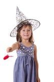 做与鞭子的女孩魔术 免版税库存照片