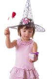 做与鞭子的女孩魔术 免版税库存图片