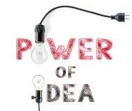 做事发生词组,并且电灯泡,手文字,达到 免版税库存照片