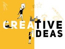 做事的创造性的词概念创造性的想法和人 向量例证