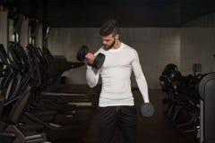 做二头肌的男性运动员重量级的锻炼 库存图片