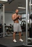 做二头肌的年轻健康人锻炼 库存图片