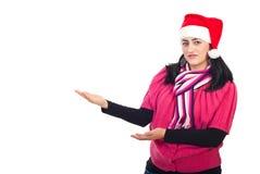 做介绍圣诞老人的辅助工 库存图片