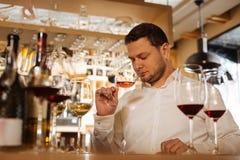 做他的工作的熟练的专业男性斟酒服务员 免版税库存照片