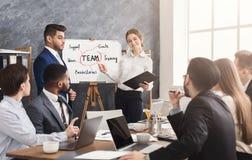 做企业介绍的外国伙伴合作 免版税图库摄影