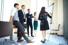 做企业介绍的妇女对小组 库存图片