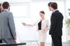 做企业介绍的女商人对小组 库存图片