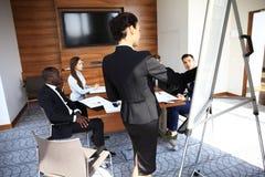 做企业介绍的妇女对小组 免版税库存照片