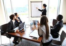 做企业介绍的妇女对小组 免版税图库摄影