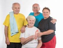 做体育的小组前辈 免版税库存照片
