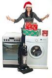 做促销妇女年轻人的圣诞节 免版税库存照片