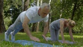做俯卧撑和瑜伽asanas在公园,慢动作的活跃资深人民 股票视频