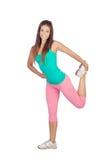 做健身的女运动员 免版税库存图片