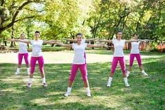 做健身锻炼的小组六名妇女 免版税库存照片