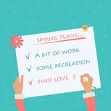 做关于春天计划的手标志 免版税库存图片