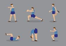 做准备的蓝色的男性体育运动员舒展和 免版税库存照片