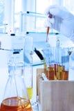 做化工测试的科学家 免版税库存图片