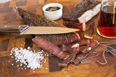 做南部的非洲干咸肉条 图库摄影