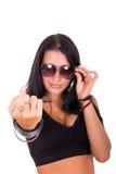 做召唤的性感的妇女与显示的手指的姿态'来他 免版税库存照片