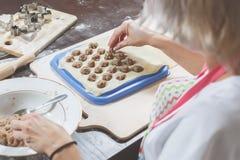 做可口自创饺子的过程 妇女在面团放置填装的肉 回到视图 库存图片