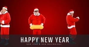 做各种各样的活动和新年快乐文本4k的圣诞老人 影视素材