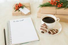 做名单圣诞节计划概念 免版税库存照片