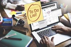 做名单日程表日历计划者组织概念 免版税库存图片