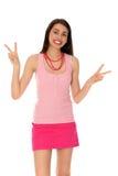 做和平标志的女孩 免版税图库摄影