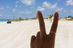 做和平标志的手指的图象在海滩 免版税库存照片