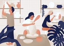 做和装饰罐、陶器、陶器和其他陶瓷的男人和妇女在瓦器车间 编组人 向量例证