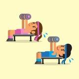做哑铃的动画片男人和妇女按锻炼 免版税库存图片