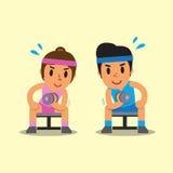 做哑铃集中的动画片男人和妇女卷曲锻炼 免版税库存照片