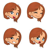 做四个不同面孔表示的十几岁的女孩被设置 女孩面孔表示,传染媒介例证 免版税图库摄影