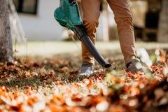 做园艺的差事,关闭的专业男性花匠庭院工作 免版税库存照片