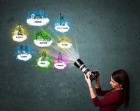 做图象的旅游摄影师著名地方环球 免版税库存图片