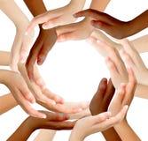 做圈子的多种族人的手的概念性标志 免版税库存图片