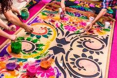 做圣周地毯,安提瓜岛,危地马拉 图库摄影