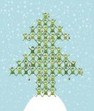 做圣诞树的圣诞老人的矮子 图库摄影